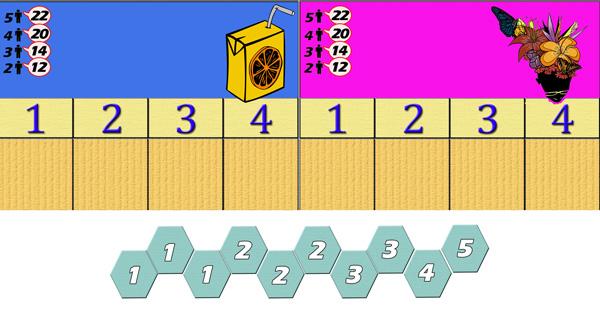 Dos puestos de mercado y las monedas que dispone un jugador.